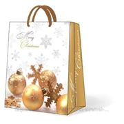 """Paw GLITTERING CHRISTMAS Пакет подарочный """"Золотистые игрушки"""", 20x25x10см"""