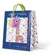 "Paw JUNGLE LITTLE FRIENDS BLUE Пакет подарочный ""Маленькие друзья"", фон синий, 6,3x33x13,5см"