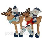 """Новогодний сувенир """"Дед Мороз на олене/Снеговик на олене"""" 46см 175792 фото"""