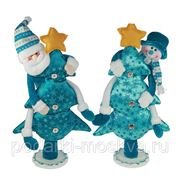 """Новогодняя композиция """"снеговик на ёлке"""" 48см 175634 фото"""