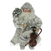 """Игрушка новогодняя """"Санта Клаус"""" цвет серебро 18см 74877 фото"""