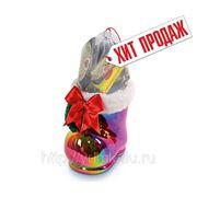 Сладкий новогодний подарок Сапожок перламутровый, 200 г фотография
