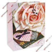 Подарочный пакет 26х32х13, бумажный, РОЗА GF 2609 фото