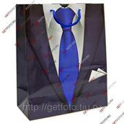 Подарочный пакет 26х32х13, бумажный, ДЛЯ МУЖЧИНЫ, костюм, галстук GF 2469 фото