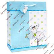 Детский подарочный пакет 26х32х13, бумажный, ДЛЯ МАЛЫША, с апликацией, АИСТ GF 2474 фото