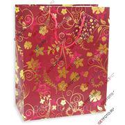 Подарочный пакет 26х32х13, бумажный, ЗОЛОТЫЕ ЛИСТЬЯ, красный GF 2617 фото