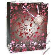 Подарочный пакет 26х32х13, бумажный, УЗОРЫ, сердца GF 2619 фото
