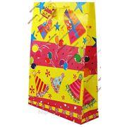 Подарочный пакет 45,5х33х10, бумажный, ДЕНЬ РОЖДЕНИЯ, колпаки, шары, подарки GF 2212