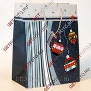 Пакет подарочный Новогодний 26х32х12 см, елочные игрушки, синий GF 1320 фото
