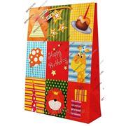 Подарочный пакет 45,5х33х10, бумажный, ДЕНЬ РОЖДЕНИЯ, лев, жираф, торт GF 2213 фото