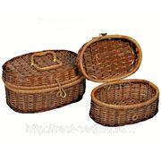 Коробка Овальная Из Сыти И Бамбука (25*17*H12) , Компл - 2 фото