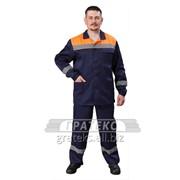 Костюм Стандарт-Трасса куртка, брюки, цв. синий с оранжевой кокеткой, с СОП