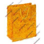 Подарочный пакет 26х32х12, бумажный, МИШУРА, золотой GF 1317 фото