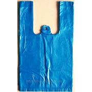 Пакет Майка ПНД |однотонная синяя |30+16х60|15 мкм| фото