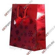 Пакет подарочный Новогодний 26х32х12 см, красный СНЕЖИНКИ GF 1313 фото