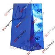 Пакет подарочный Новогодний 26х32х12 см, синий СНЕЖИНКИ GF 1314 фото
