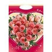"""Пакет """"Сердце из роз"""" с прорубной усиленной ручкой фото"""