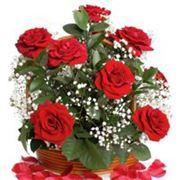 """Пакет """"Красные розы"""" с прорубной усиленной ручкой фото"""