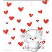 """Пакет """"Влюбленный котенок"""" с прорубной усиленной ручкой фото"""