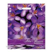 """Пакет ПВД с вырубной ручкой рейтер """"Сиреневые цветы"""""""