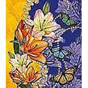 """Пакет """"Лилии и бабочки"""" с петлевой ручкой фото"""