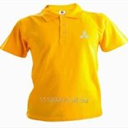 Рубашка поло Mitsubishi желтая вышивка белая фото