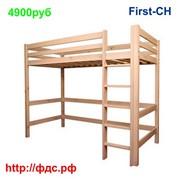 """Двухъярусная Кровать чердак """"First-CH"""" для детей и взрослых, из массива сосны фото"""