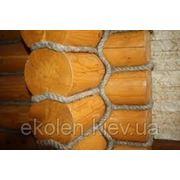 Веревка льняная для декора деревянного дома диам. 25 мм фото