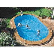 Бассейн сборный овальный 11,00 x 5,50 m, h= 1,50 m, толщина пленки 0,6 mm синий фото