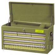 Ящик для инструмента 6-ти секционный выдвижной, с крышкой, голубой, 658х308х370мм фото
