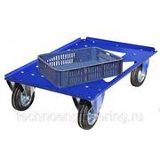 Тележка передвижная металлическая для ящиков и лотков штабелируемых 600х400, колёса d160мм фото