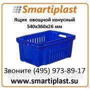 Ящик пластиковый артикул 105 ящик овощной конусный с перфорацией 540х360х26