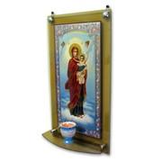 КИОТ из стекла №1 58*32 с иконой, с полочкой фото