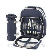 Набор для пикника на 2 персоны в синем рюкзаке фото