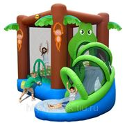 Happy Hop 9113 Надувной батут с горкой Крокодил в джунглях