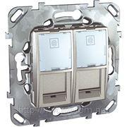 Компьютерная розетка двойная 2хRJ45 кат.5 е .С полем для надписи (алюминий) фото