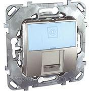 Компьютерная розетка одинарная 1хRJ45 кат.6 е .С полем для надписи (алюминий) фото