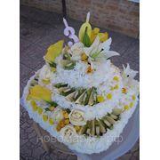Доставка цветов.Фруктово-Цветочный торт. фото