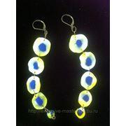 Серьги желтые с синими кругами фото
