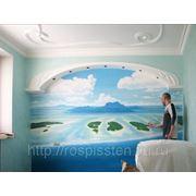 Роспись стены в спальне. фото