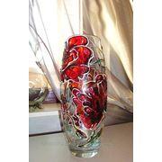 Роспись по стеклу вазы, витражная роспись ваз фото