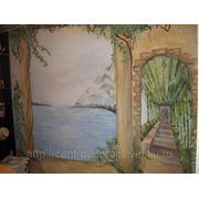 Роспись стены в кухне 2 фото