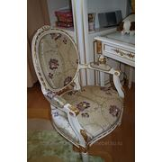 Рестоврация мягких частей стула с заменой ткани фото