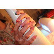 Наращивание ногтей на типсах с удлинением ногтевой пластины камуфлирующим гелем (френч) фото