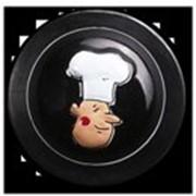 Пукли, пластиковые, черные, дизайн лицо повара, 12 шт. фото