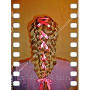 Пятипрядная коса с лентой фото