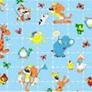 Ткань постельная Фланель 170 гр/м2 90 см Набивная/Детская 5057-2 Жирафы и слоны на голубом/S549 PTS фото