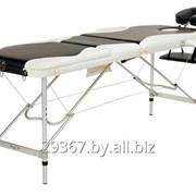 Складной 3-х секционный алюминиевый массажный стол BodyFit, бело-черный фото