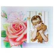 Фоторамка Сима 09*13 стекло Роза с каплями росы с блестящей обводкой фото