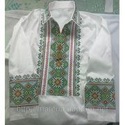 вышиванка мужская с длинным рукавом. машинная вышивка крестиком. фото